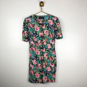 Vintage 90s Floral Puff Sleeve Button Front Dress